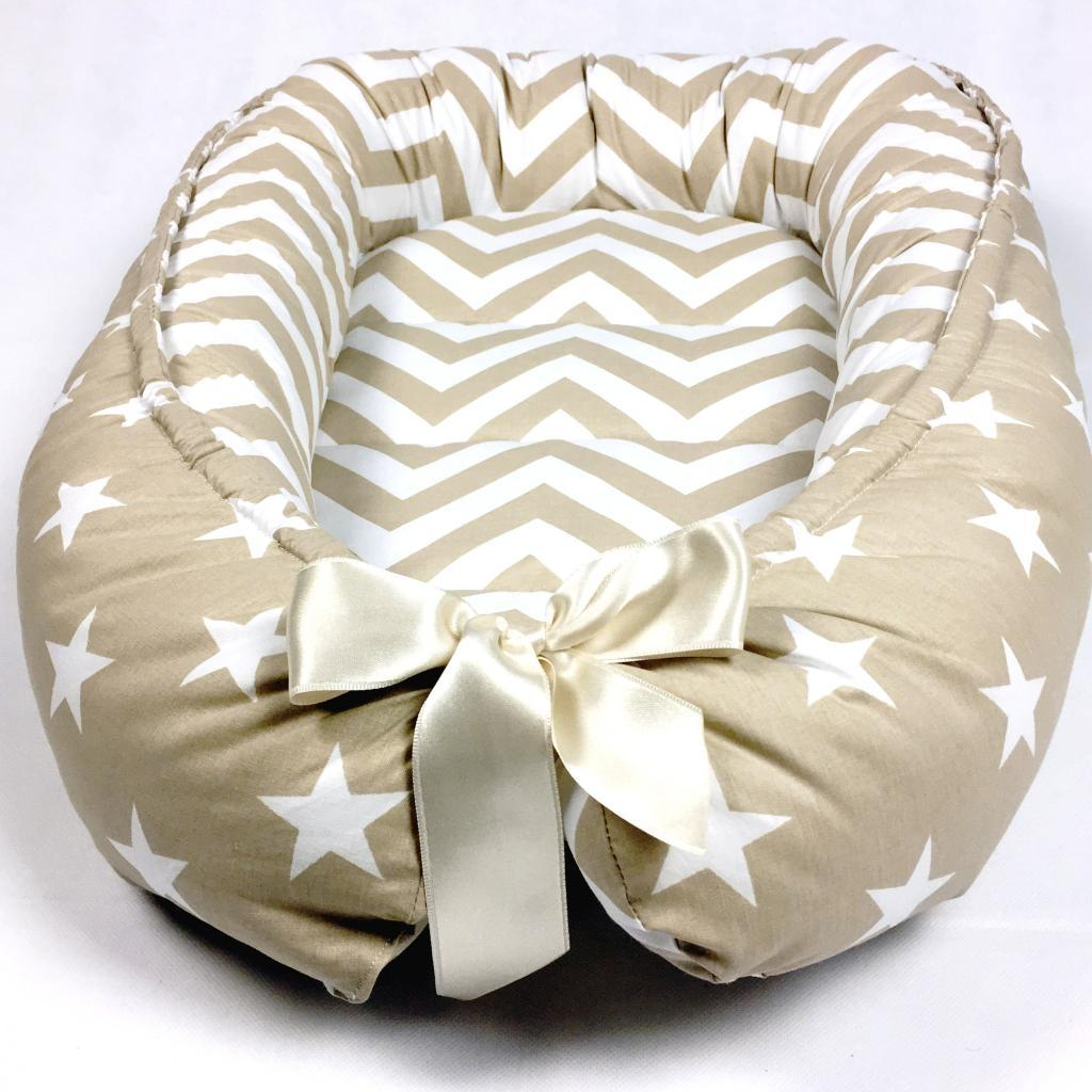 Handmade Double Sided Beige Organic Baby Nest Bed Baby